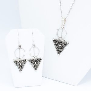 Jewelry - Berber Symbol .999 Silver Pendant and Earring Set